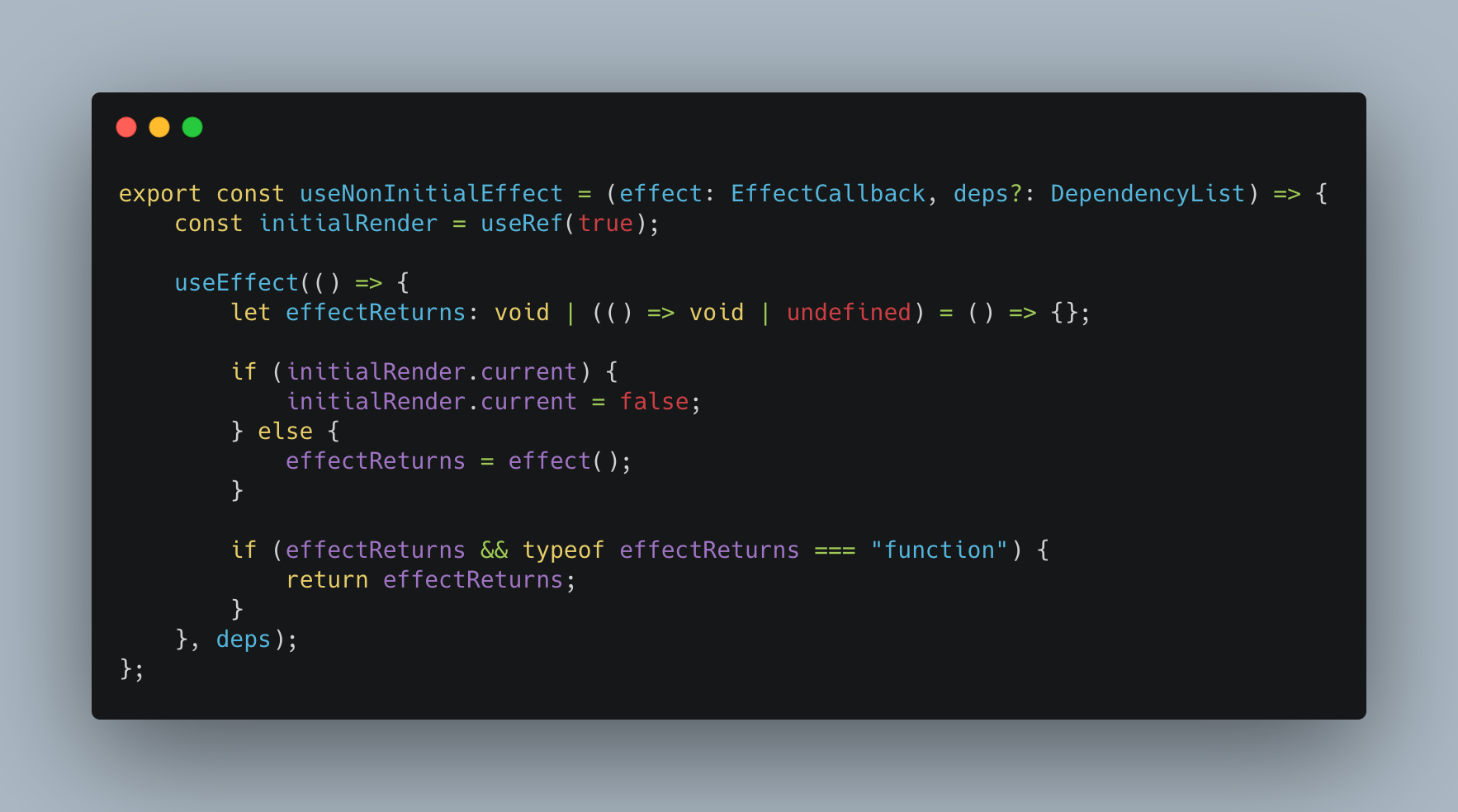 Prevent useEffect's callback firing during initial render