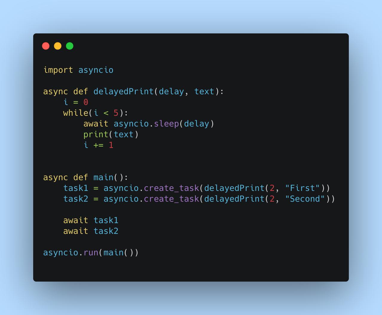 Concurrent programming using Python's Async IO